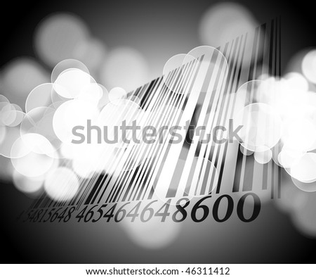 Bar code on a soft grey background - stock photo