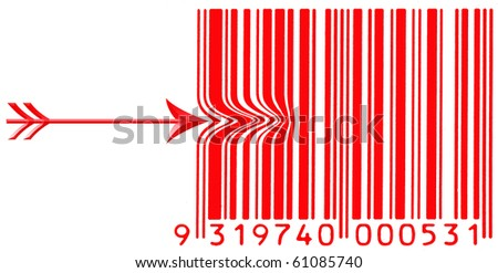 bar code with arrow - stock photo