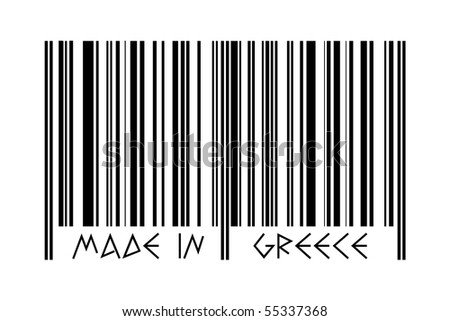 "Bar code with the inscription ""Made in Greece"" - ancient style letters"
