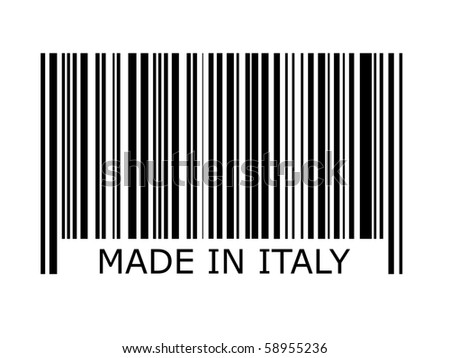 bar code with the inscription made in italy - stock photo
