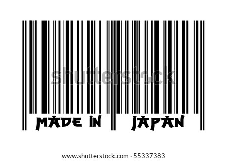 "Bar code with the inscription ""Made in Japan"" - Japanese style letters"