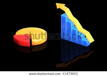 Bar graph and pie chart isolated over a black background