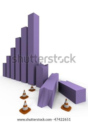 Bar graph crashed, under construction - a 3d image - stock photo