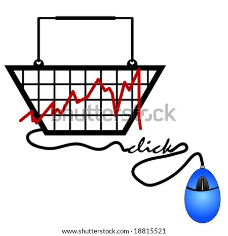 bar graph made out of a shopping basket trends on the internet - stock photo
