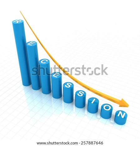 Bar graph showing recession trend, 3d render, white background - stock photo