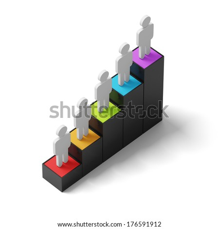 Bar graph with man icon - stock photo