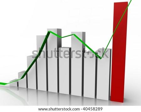 Bar graph with progress line - 3d image - stock photo