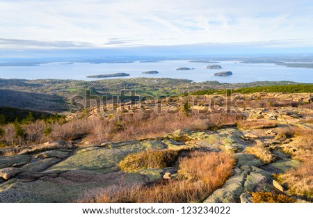 Bar Harbor and the Porcupine Islands from Cadillac Mountain in Acadia National Park in Maine - stock photo