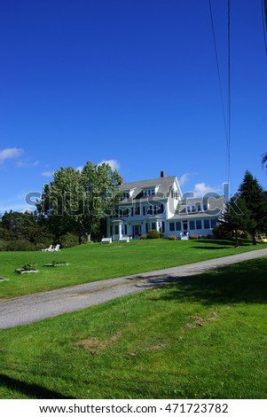 BAR HARBOR, MAINE - SEP 14, 2013 - Hotel on the ocean front on  Mount Desert Island, Acadia National Park