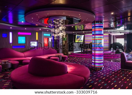 Bar modern interior, cruise liner Splendida - stock photo