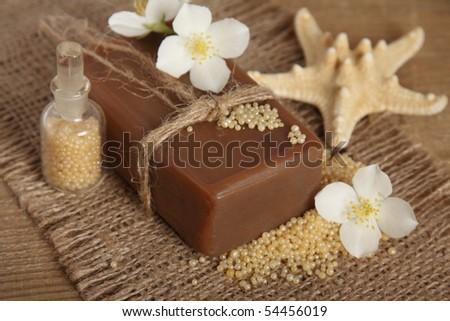 Bar of natural handmade soap. Spa - stock photo