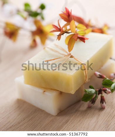 Bar of Natural Handmade Soap with herbs - stock photo