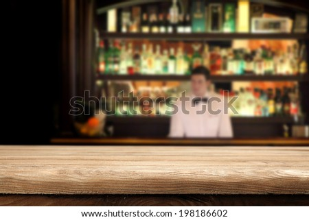 bar place and desk of wood in brown color  - stock photo