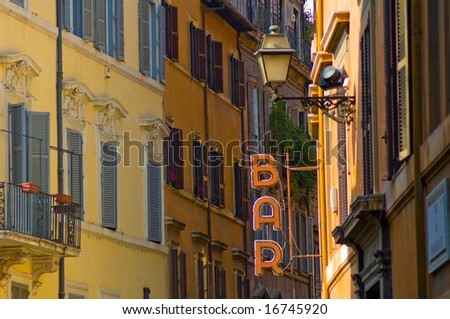 Bar sign in the street of Rome - stock photo