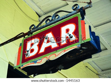 Bar Sign on Decatur Street, New Orleans 2006 - stock photo