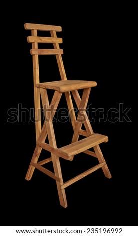 bar stool made of light wood isolated on black background - stock photo