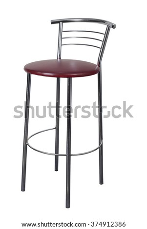 bar stools on high legs isolated on white background