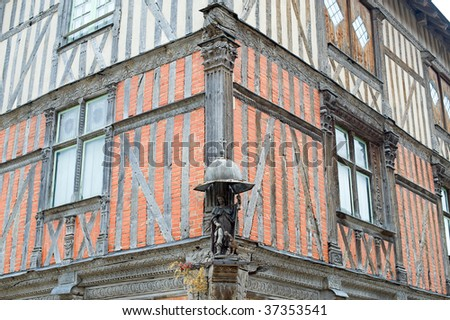 Bar-sur-Seine (Aube, Burgundy, France) - Exterior of ancient half-timbered house - stock photo