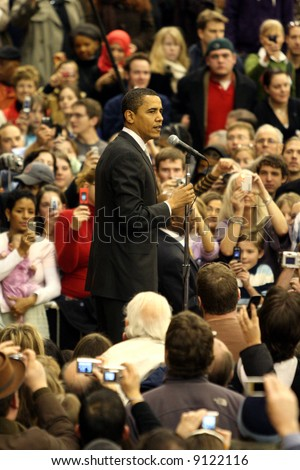 Barack Obama giving a speech at the University of Denver on January 30, 2008 - stock photo