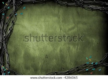 Barb wire and butterfly contrast - stock photo