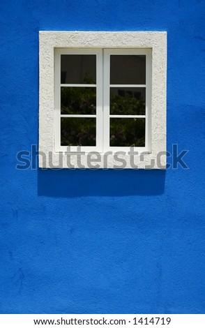 Barbados Blue and White Window - stock photo
