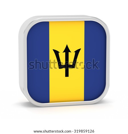 Barbados flag sign on a white background. Part of a series. - stock photo