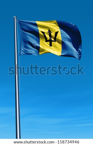 Barbados flag waving on the wind - stock photo