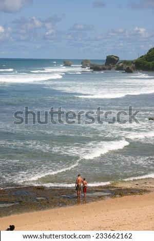 BARBADOS - NOV 2005: Father and son enjoy the beach near Bathsheba, Barbados - stock photo