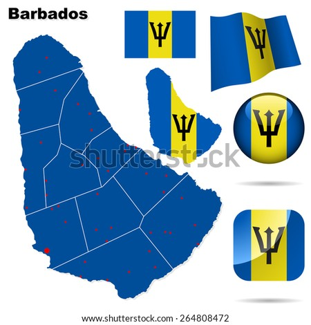 Barbados set. Detailed country shape with region borders, flags and icons isolated on white background. - stock photo