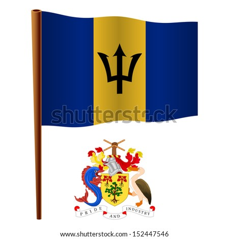 barbados wavy flag and coat of arms against white background, art illustration - stock photo