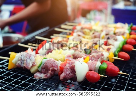Bbq grill on street thailand stock photo 586918934 for Food for bar b q