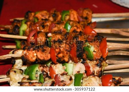 Barbecue Beef Kebabs On The Hot Grill  - stock photo