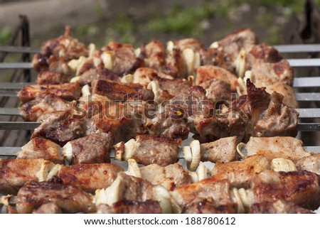 Barbecue delicious juicy slices of meat on grill metal sticks on fire photo.