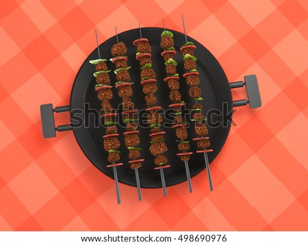 Barbecue design elements 3D rendering