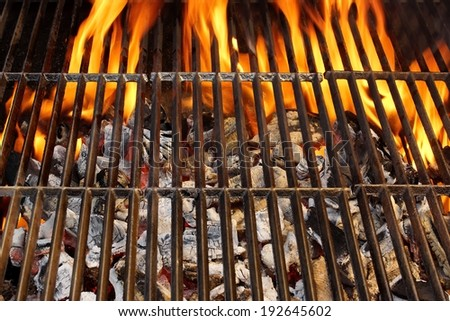Barbecue Grill and Burning Charcoal. You can see more BBQ, Grilled food, flames and fire on my page. - stock photo