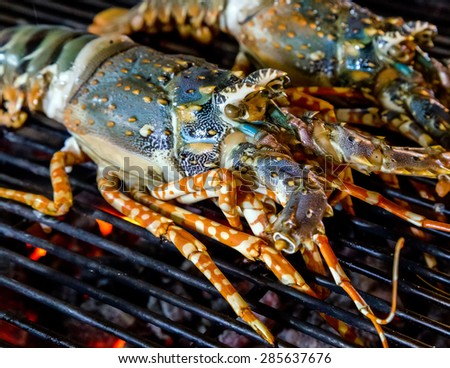 Barbecue Grill cooking seafood. background seafood cooked - stock photo