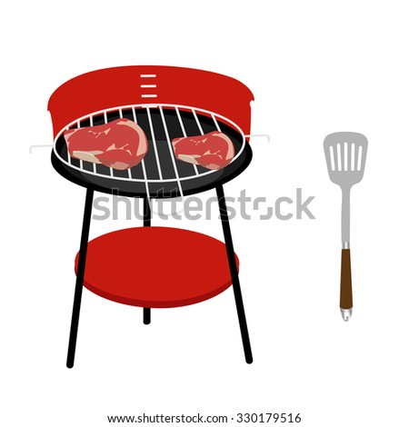 Barbecue grill with two steaks and spatula raster icon set isolated, barbeque family, barbeque party