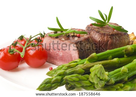 Barbecue Grilled Beef Steak Meat with Vegetables - stock photo