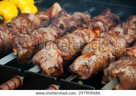 Barbecue meat cooked on skewers - stock photo