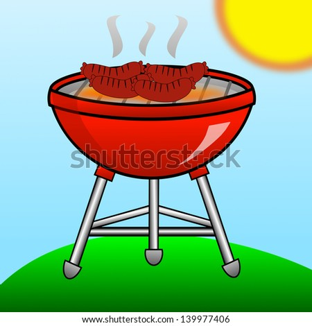 barbecue of red color with the fried sausages on a green lawn, illustration