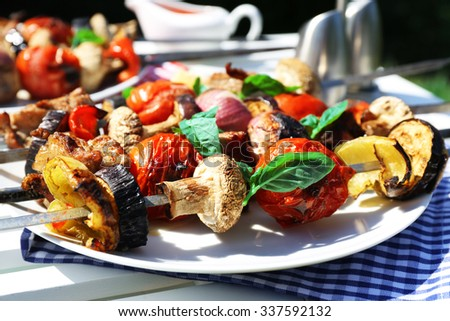 Barbecue on plate closeup