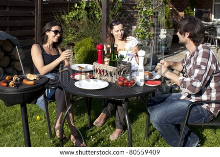 Barbecue party in the garden - stock photo