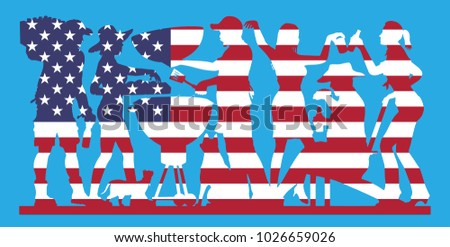 Barbecue Party Silhouette with USA Flag. The silhouette image is in a different layer and it can be use without background and other images.