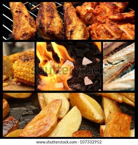barbecue picture collage - stock photo