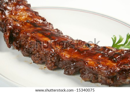 Barbecue pork ribs on plate