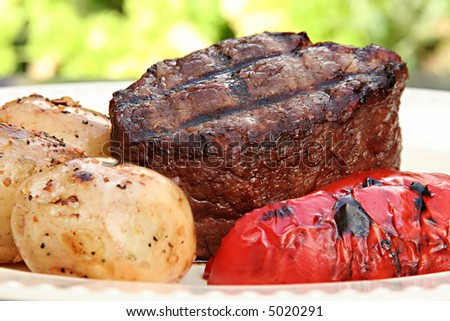 Barbecue steak dinner - stock photo
