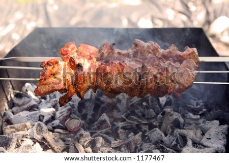 barbecued meat on sticks - stock photo