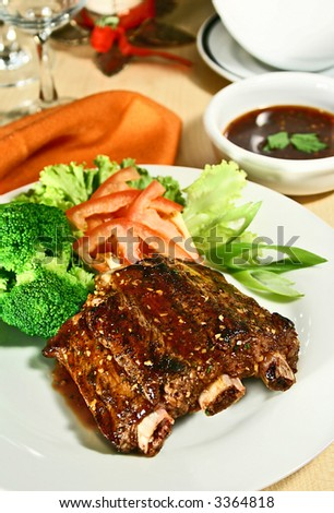 barbecued pork ribs with honey garlic sauce