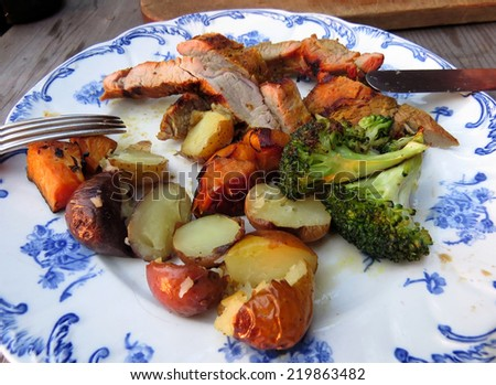 Barbecued pork tenderloin, potatoes and broccoli dinner - stock photo
