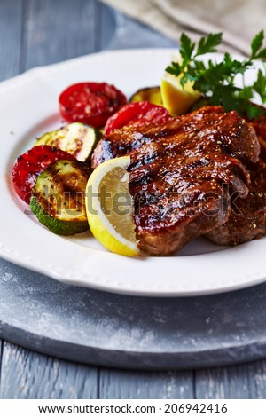 Barbecued Pork with Grilled Vegetables and Lemon